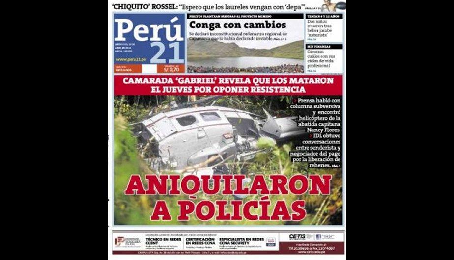 Las confesiones de &#039;Gabriel&#039; acaparan las portadas de los diarios lime&ntilde;os