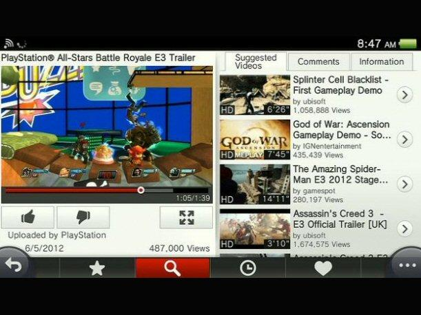YouTube ya está disponible para PlayStation Vita