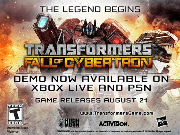 Demo de Transformers: Fall of Cybertron ya está disponible