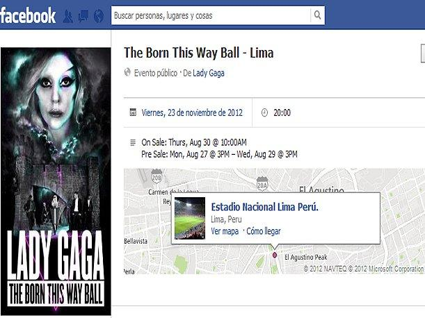 Lady Gaga en Lima el 23 de noviembre 
