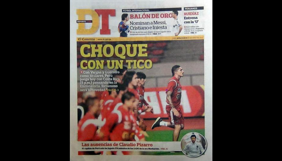 Kiosko Deportivo: El Costa Rica vs. Per&uacute; en portadas