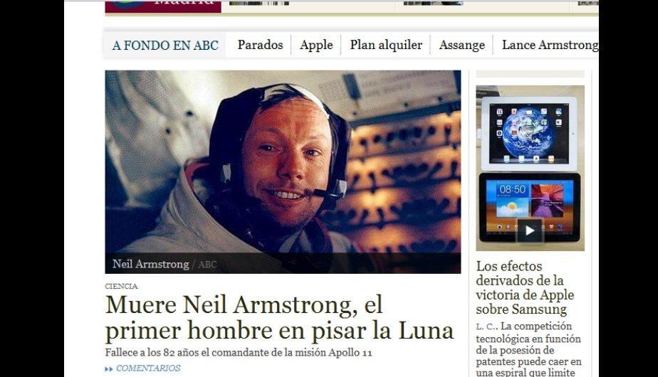 As&iacute; informaron los medios sobre la muerte de Neil Armstrong (FOTOS)