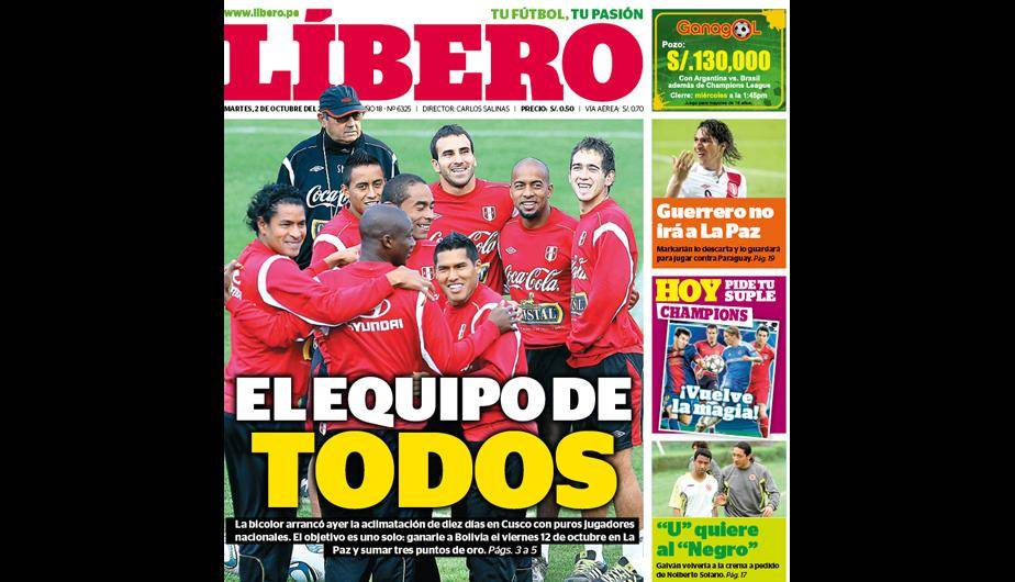 La selecci&oacute;n peruana sigue siendo due&ntilde;o de las portadas 