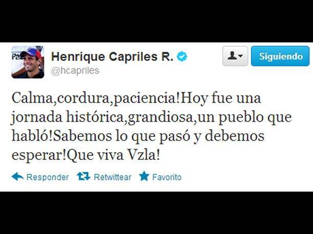 Henrique Capriles en Twitter: &iexcl;Calma, cordura y paciencia!