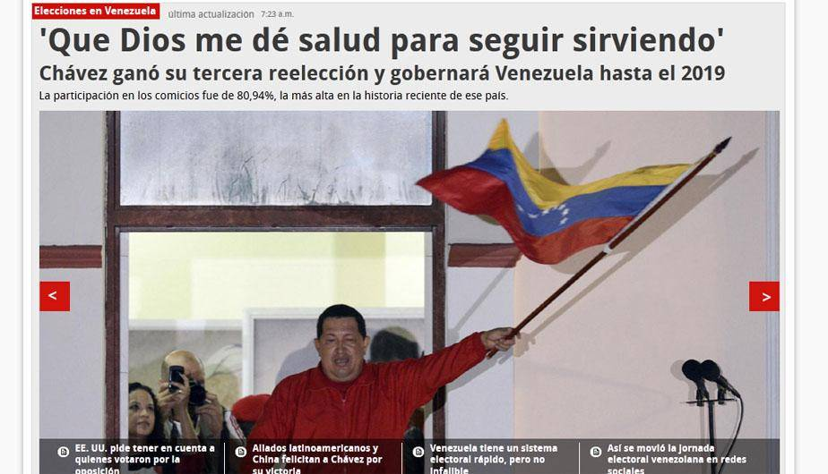 Los diarios internacionales tras el triunfo de Hugo Ch&aacute;vez en Venezuela (FOTOS)