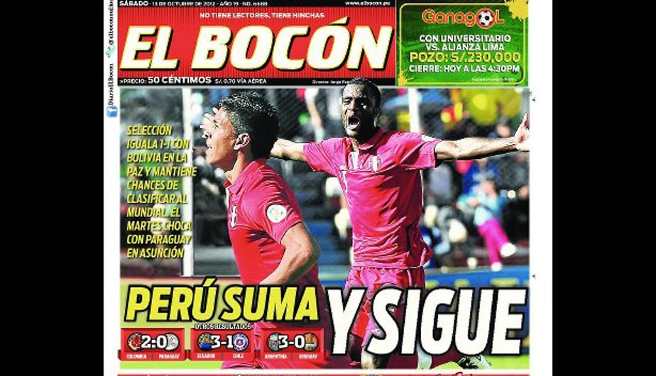 Kiosko Deportivo: Prensa peruana euf&oacute;rica por empate ante Bolivia en La Paz