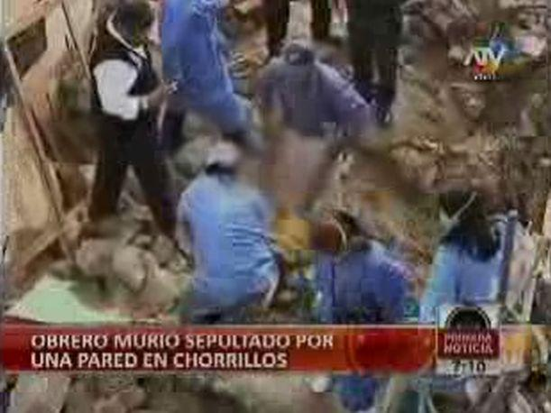 Chorrillos: Obrero de 38 a&ntilde;os muere sepultado por pared (VIDEO)