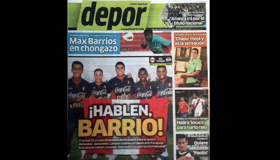 Kiosko deportivo: Max Barrios y la selecci&oacute;n Sub 20 en todas las tapas
