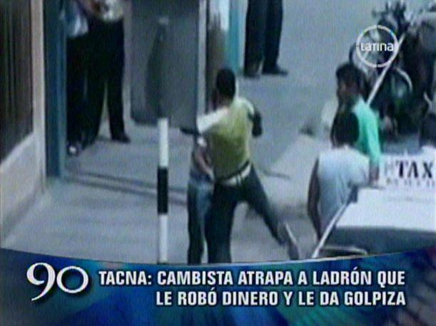 Tacna: Cambista atrapa a ladr&oacute;n que le rob&oacute; y lo golpea (VIDEO)
