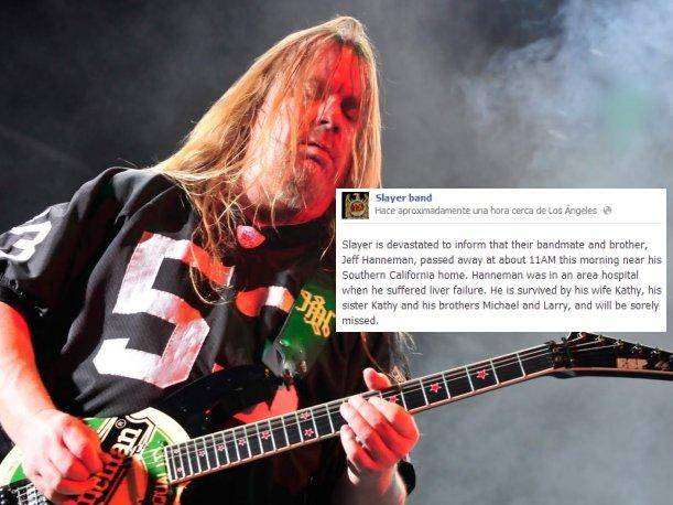 Jeff Hanneman: Guitarrista de Slayer falleció este jueves