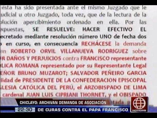 Chiclayo: Archivan demanda de asociación de curas casados contra el papa Francisco (VIDEO)