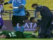 Terrible fractura de tibia en el fútbol de Qatar (VIDEO)
