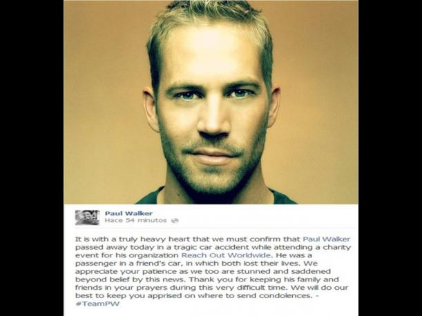 Paul Walker: Facebook oficial del actor confirma su muerte