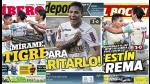 Universitario en todas las portadas nacionales (FOTOS) - Noticias de guillermo garay