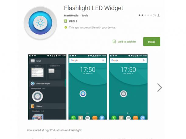 Si descargaste Flash Light LED Widget, entonces debes formatear tu smartphone de inmediato. (Foto: Captura)