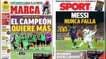 Real Madrid vs Manchester United y Barcelona en portadas internacionales - Noticias de kiosko deportivo internacional