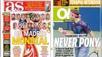 Eliminatorias, Real Madrid y Del Potro en US Open en portadas internacionales - Noticias de juan martín del potro