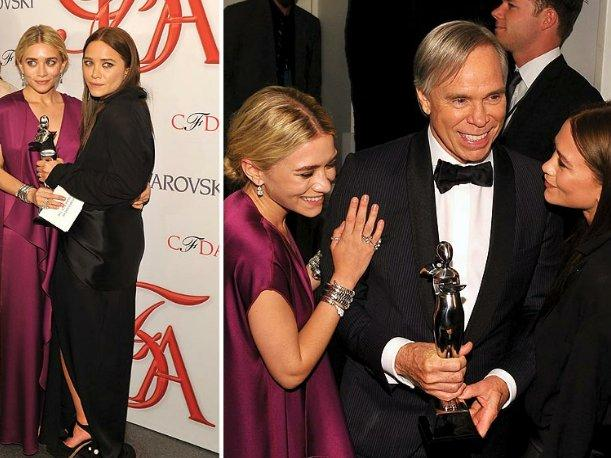 Mary-Kate y Ashley Olsen y Johnny Depp, los grandes ganadores de los Oscar de la moda 2012