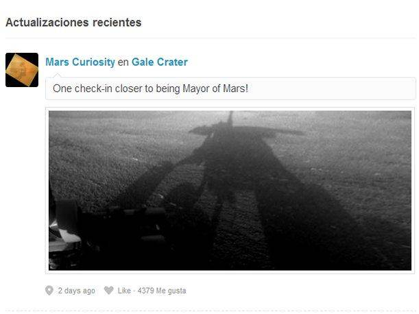 NASA Curiosity hace check-in en Marte usando Foursquare