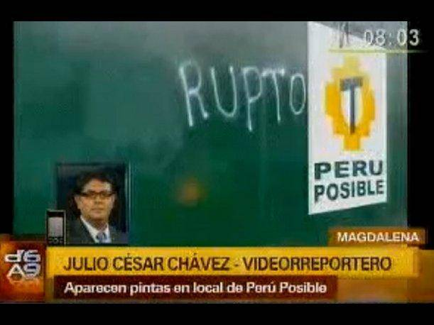 Perú Posible Aparecen pintas en local del partido con la frase corrupto (VIDEO)