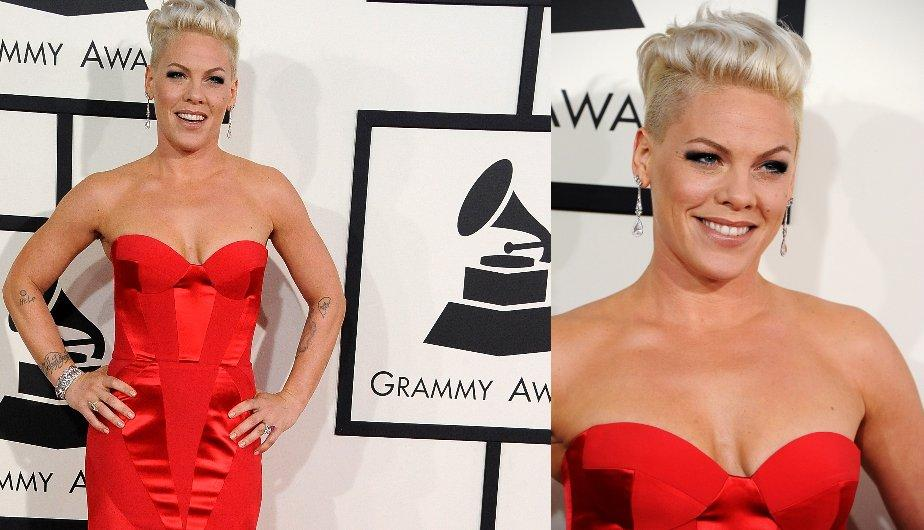 Pink en un vestido bermellón de Johanna Johnson. (Foto: Getty Images)