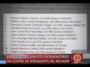 Modavef: Revelan documentos incriminatorios en contra de integrantes