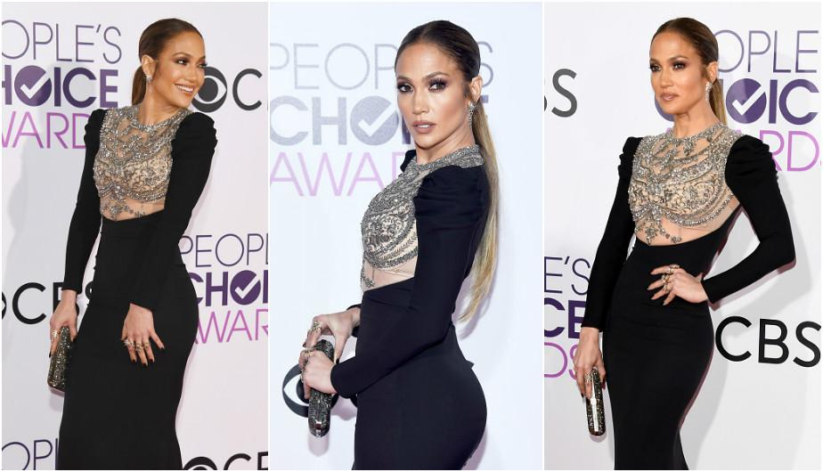 Jennifer Lopez elevó la temperatura de los People's Choice Awards 2017 con ceñido vestido color negro. (Foto: Getty Images)