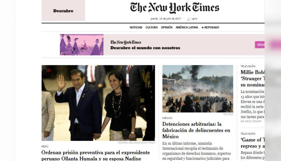 Ollanta Humala y Nadine Heredia fueron enviados a prisión preventiva. Así dio la noticia The New York Times. (Foto: Captura Pantalla)
