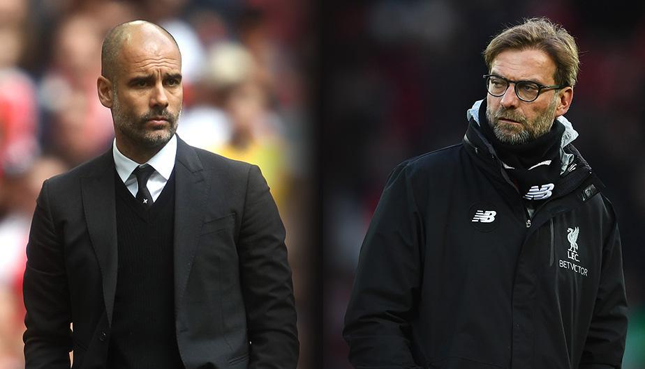 Pep Guardiola vs Jurgen Klopp en el Manchester City vs Liverpool. (Foto: Getty Images)