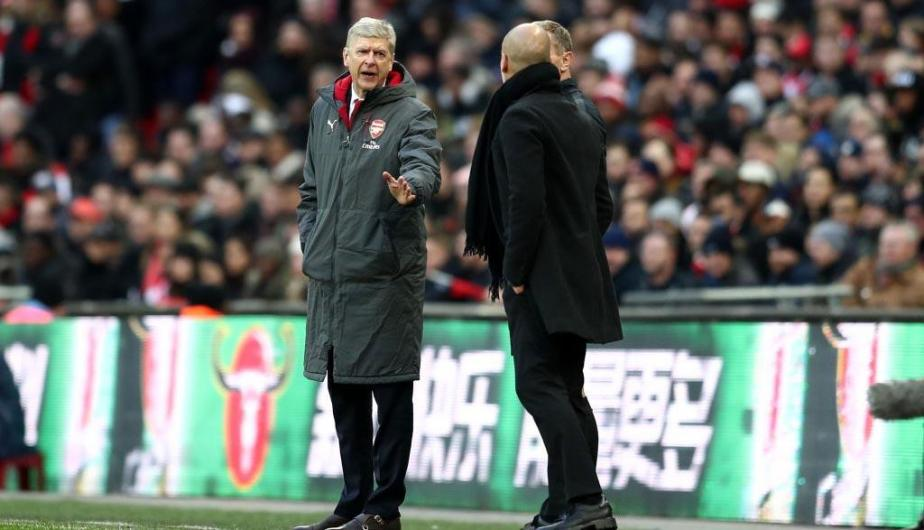 Arsene Wenger y Josep Guardiola durante el encuentro entre Arsenal y Manchester City en la final de la Copa de la Liga | Fotos: Getty Images