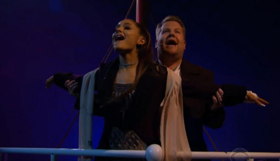 La cantante recreó las escenas de Titanic con James Corden. (Foto: Captura de video)
