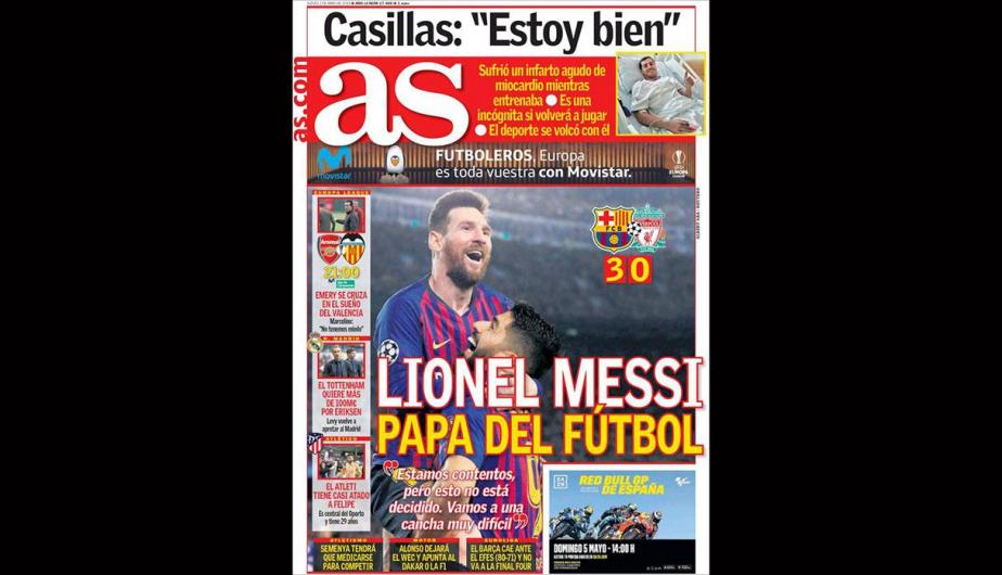 La portada de AS sobre Lionel Messi.