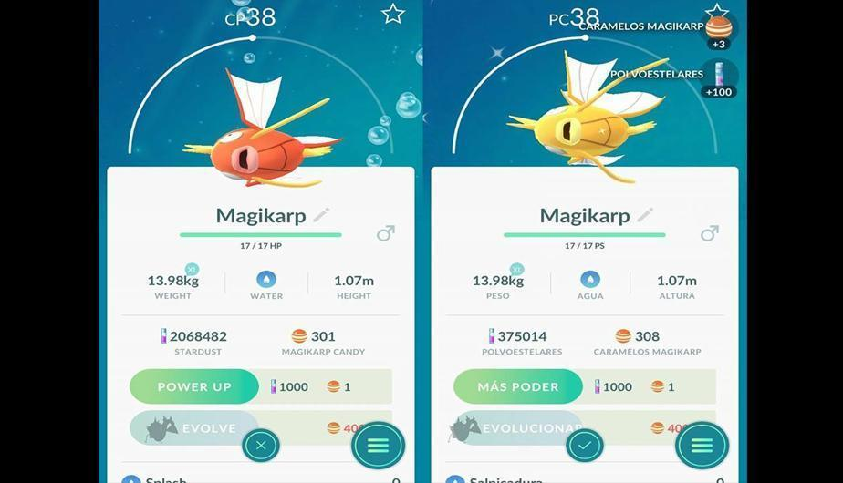 "4. Diferencias entre un Magykarp normal y uno ""shiny"". (Foto: Captura)"